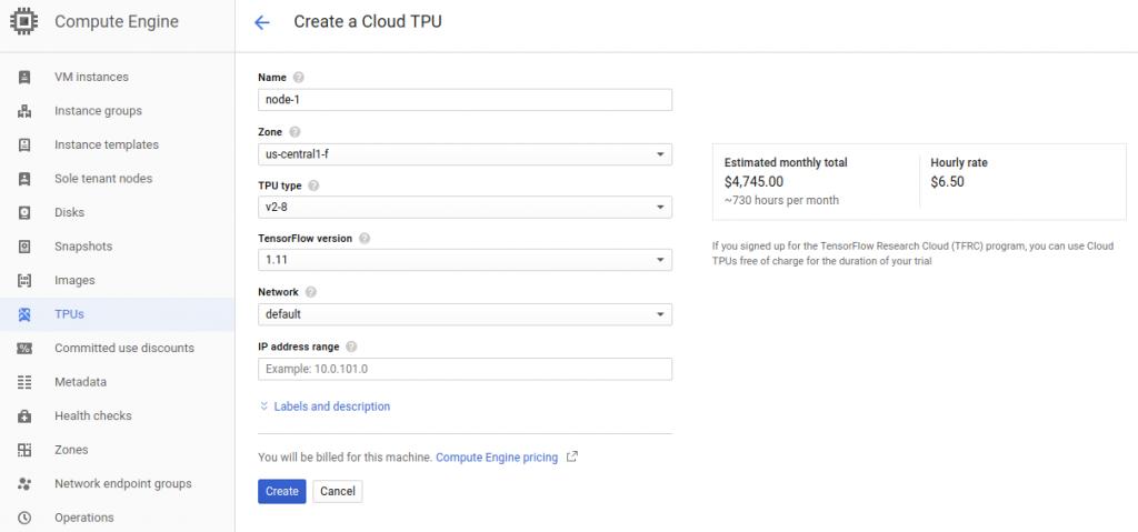 Uruchomienie Cloud TPU