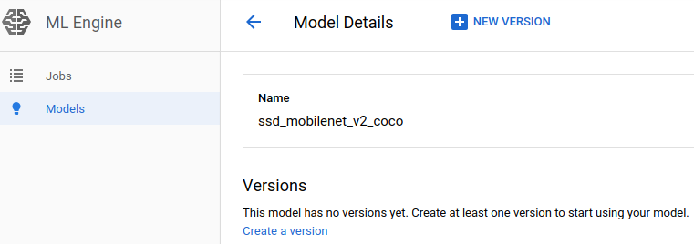 Create a version of the model - ML Engine