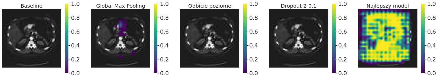 Occlusion sensitivity różnych modeli dla rozmiaru ramki 8 x 8 pikseli