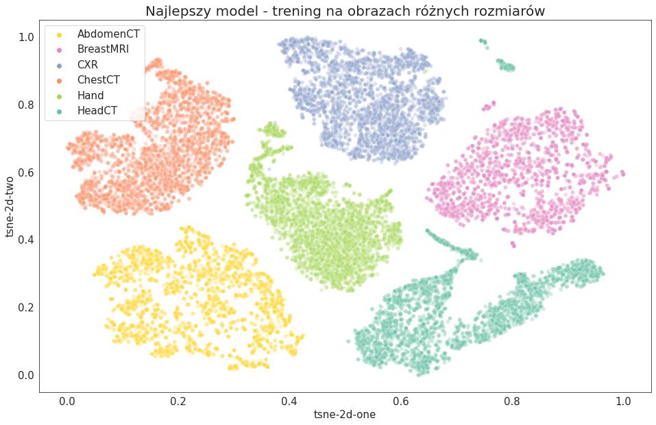 Wizualizacja t-SNE - 2D - najlepszy model - trening na obrazach różnych rozmiarów