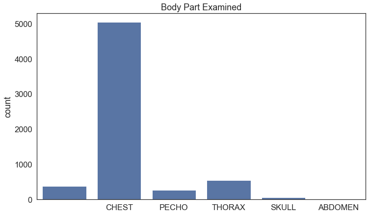 Body Part Examined - skondensowany wykres słupkowy Wartości słupków: PUSTE POLE - 381 SKULL - 57 THORAX - 552 CHEST - 5050 ABDOMEN - 21 PECHO - 273