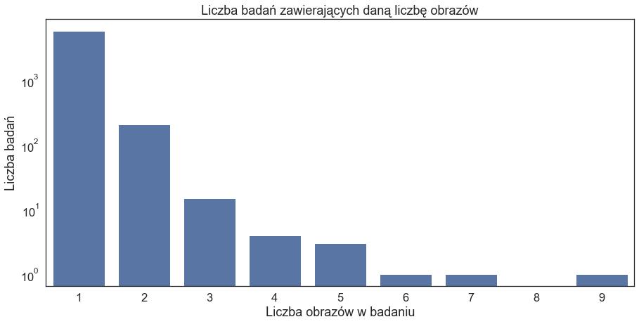Wykres słupkowy liczby badań zawierających daną liczbą obrazów  Wartości słupków: 1 obraz - 5822 badań 2 - 207 3 - 15 4 - 4 5 - 3 6 - 1 7 - 1 8 - 0 9 - 1